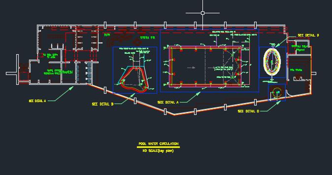 پلان استخر نقشه تاسیسات استخر نقشه اتوکد استخر تاسیسات مکانیکی نقشه چرخش آب استخر استخر مکانیک پروژه تاسیسات مکانیک